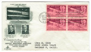 Scott C45 1949 6c Wright Brothers Airmail First Day Cover Cat $2.75