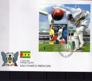 Sao Tome & Principe 2004 Cricket Andrew Flintoff s/s Perforated in official FDC