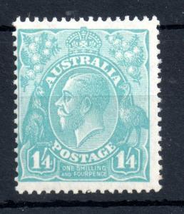 Australia 1926 KGV 1s 4d turquoise mint LHM #104 WS13966