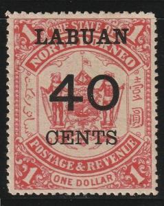 MALAYA North Borneo Labuan opt North Borneo 1895 40c on $1 MLH SG#79 CV£55