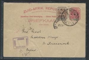 TRANSVAAL  (PP0312B) 1902 PSC CENSOR TO ENGLAND