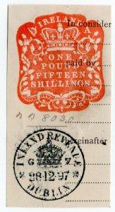(I.B) QV Revenue : Ireland Impressed Duty £1 15/- (Dublin 1897)
