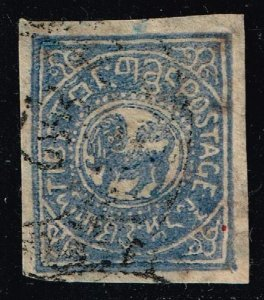 CHINA TIBET Stamp 1912 Heraldic Lion BLUE USED