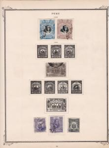peru stamps on 2 album page ref 13455