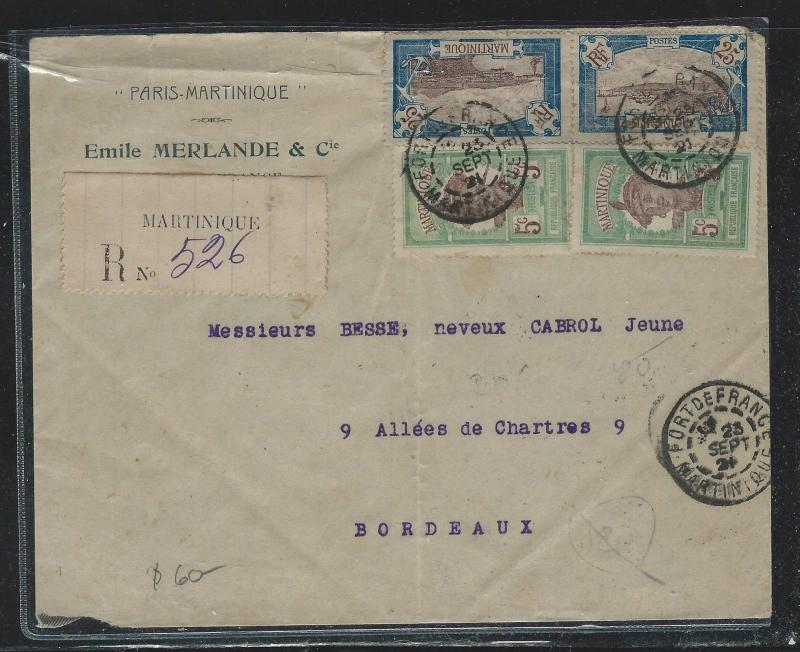 MARTINIQUE  (PP2709B) 1925 25CX2+5CX2 REG TO FRANCE MISS BACK FLAP