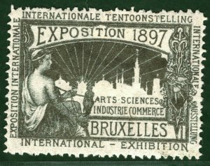 BRUSSELS EXHIBITION STAMP/LABEL Belgium 1897 *SILVER* Ink Mint MM B2WHITE34