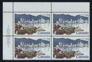 Canada 600 TL Block Plate 1 MNH Vancouver