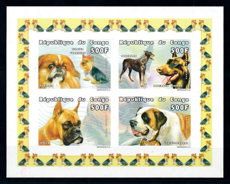 [75724] Congo Brazzaville 1999 Pets Dogs Imperf. Sheet MNH
