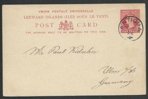ANTIGUA 1894 1d postcard used to Germany...................................58366