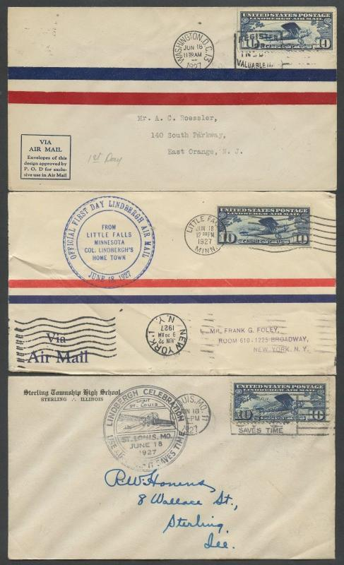 #C10 ON (3) DIFFERENT CITIES ON FIRST DAY COVERS JUNE 18,1927 BU4265