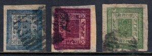 NEPAL — SCOTT 7-9 — 1886 SRIPECH/KHUKRIS SET, NATIVE WOVE PAPER — USED— SCV $115