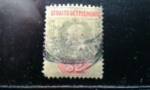 Straits Settlements #103 used pin hole pulled corner perf e194.3926