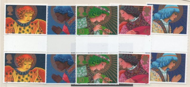 Great Britain Sc 1834-8 1998 Christmas stamp set gutter pairs mint NH