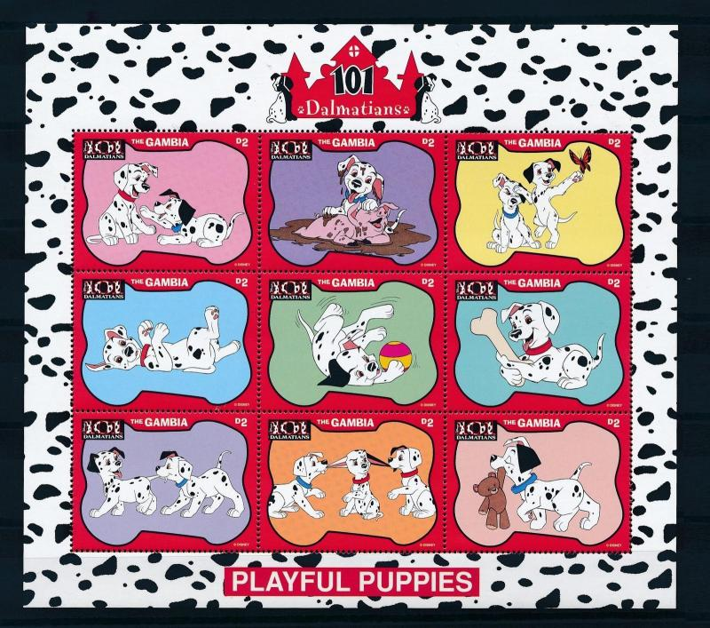 [22603] Gambia 1997 Disney Dogs Movie 101 Dalmatians Playful Puppies MNH