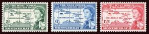 MONTSERRAT Scott #143-5 (SG 150-152) 1958 WI Federation map QEII VLH/HR