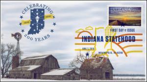 2016, Indiana Statehood, 200 Years, FDC, Color Digital Postmark, Barns, 16-186