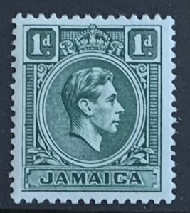 JAMAICA 1951 PENNY  GREEN SG122a  LIGHTLY MOUNTED MINT CAT £4.75