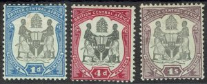 BRITISH CENTRAL AFRICA 1897 ARMS 1D 4D AND 1/-
