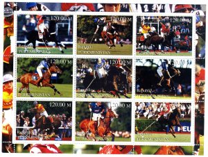 TURKMENISTAN 2000 Horse Jumping & Polo Sheet Perforated Mint (NH)#2
