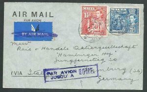 MALTA 1938 Airmail cover to Germany - PAR AVION JUSQU'A A ROME.............65389
