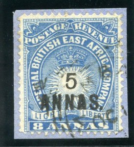 British East Africa 1894 QV 5a on 8a blue very fine used. SG 27. Sc 36