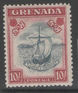GRENADA SG163c 1943 10/= SLATE-BLUE & BRIGHT CARMINE (NARROW) p12 MTD MINT