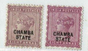 India - Chamba - QV 1887 - 8A  - SG14/15 - Mint Hinged hcv