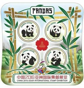 Sierra Leone - 2016 Pandas Stamp Expo - 4 Stamp Sheet - SRL16920a
