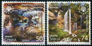 HERRICKSTAMP NEW ISSUES SERBIA Sc.# 820-21 Nature Protection 2018 Waterfall