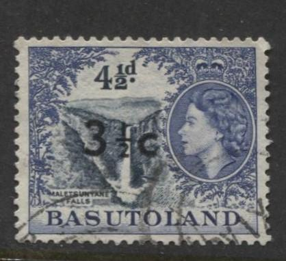 Basutoland -Scott 65-Surcharge New Value-1961-Used -Single 3.1/2c on a 4.1/2d