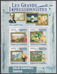 2009 Comoros Islands 2568-71KL Painting / Colin Campbell Cooper 10,00 €