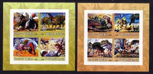 Eritrea, 2002 Cinderella issue. Dinosaurs on 2 IMPERF sheets of 4. ^