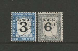 South West Africa 1928/9 Postage dues, 3d & 6d ( S Africa D15/6)  Used SG D40/1