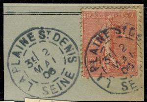 FRANCE - 1906 - CàD  LA PLAINE St DENIS / SEINE  sur Yv.129 /fragment - TB