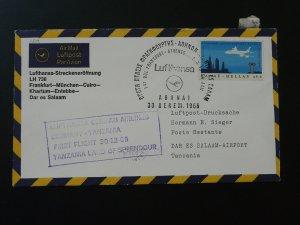 first flight cover Lufthansa 1966 Athens Greece to Tanzania 90716