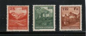 Liechtenstein #108 - #110 Very Fine Mint Lightly Hinged Set