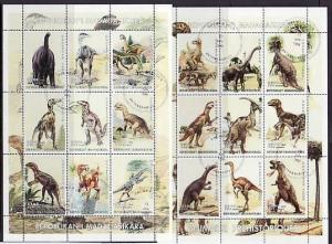 Malagasy Rep. 1999 Cinderella issue. Dinosaurs on 2 Sheets. Canceled, C.T.O.