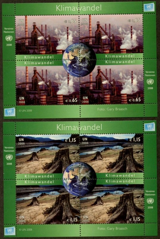 UNITED NATIONS Sc# NY 968-9 GE 492-3 VI 434-5 2008 Climate Change MNH