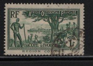 IVORY COAST, 136, USED, 1936-44, COASTAL SCENE