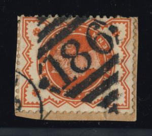 GB - QV -IRISH DIAMOND NUMERAL 186 OF DUBLIN ON SG197 1/2d VERMILION
