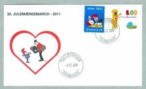 Denmark Cover. Postman # 35  Christmas Seals Walk 2011.. 8 Kr.. Santa,Baking..