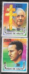 Burkina Faso #434-435 DeGaulle & King Baudouin (U) CV $1.25