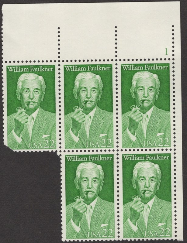 Scott 2350 MNH,OG VF Plate Block of 5, The fifth stamp has some damage