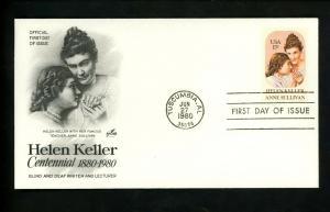 U.S.A. Sc#1824 Helen Keller and Anne Sullivan ARTCRAFT FDC