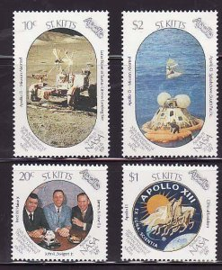 St. Kitts-Sc#248-51- id7-unsed NH set-Space-Moon Landing-1989-