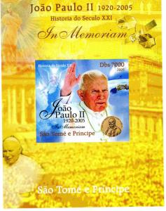 SAO TOME & PRINCIPE 2005 SPACE Pope John Paul II DeLuxe s/s Mint (NH) #6