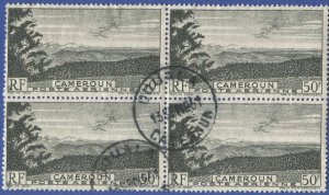 CAMEROUN  French Colonies 1947 50f Used Block of 4 Sc C26, SOTN DOUALA Cancel