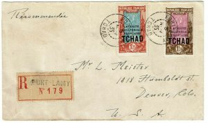 Chad 1935 Fort Lamy cancel on registered cover to the U.S., Scott 47, $190