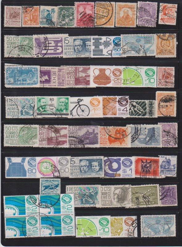 LOT OF DIFFERENT STAMPS OF MEXICO USED (52) LOT#158