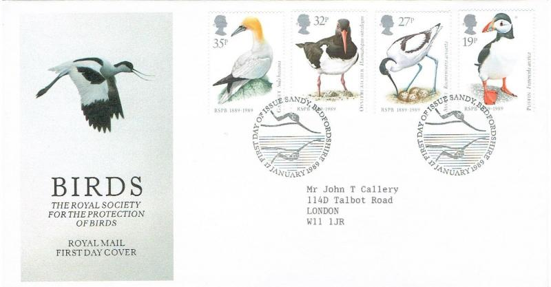 GB 1989 FDC ROYAL SOCIETY FOR THE PROTECTION OF BIRDS - SANDY, BEDFORDSHIRE H/S